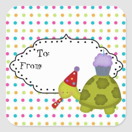 Cartoon Turtle Party gift tag Sticker