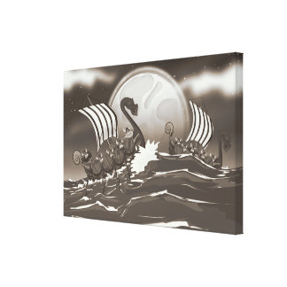 Cartoon Viking invasion fleet Canvas Prints