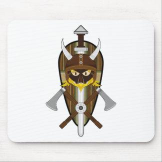 Cartoon Viking Warrior and Shield Mouse Mat