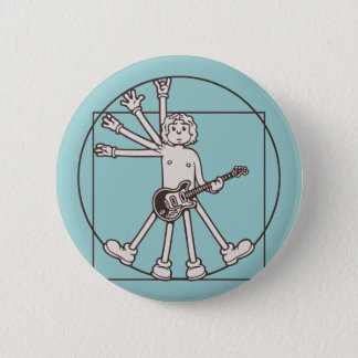 Cartoon Vitruvian Rocker 6 Cm Round Badge