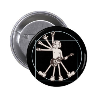 Cartoon Vitruvian Rocker 6 Cm Round Badge