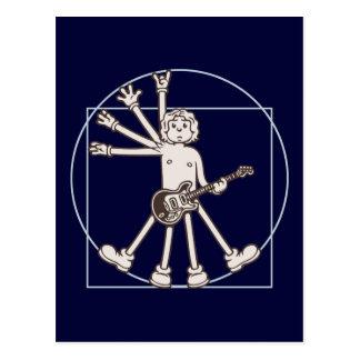 Cartoon Vitruvian Rocker Postcard