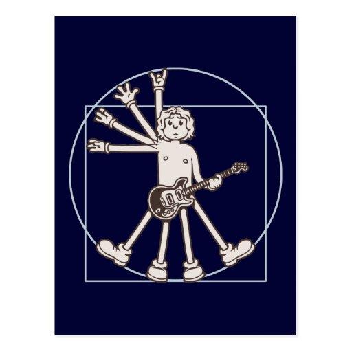 Cartoon Vitruvian Rocker Post Cards