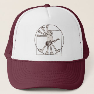 Cartoon Vitruvian Rocker Trucker Hat