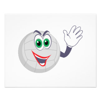 cartoon volleyball character waving flyers