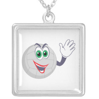cartoon volleyball character waving square pendant necklace