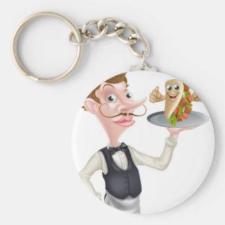 Cartoon Waiter and Thumbs Up Kebab Key Ring