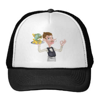 Cartoon Waiter Butler Fish and Chips Cap