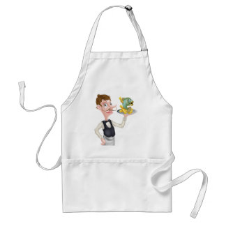 Cartoon Waiter Butler Holding Fish and Chips Standard Apron