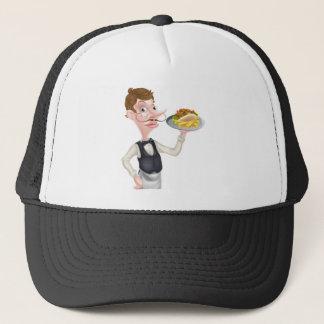 Cartoon Waiter Butler Holding Kebab and Fries Trucker Hat