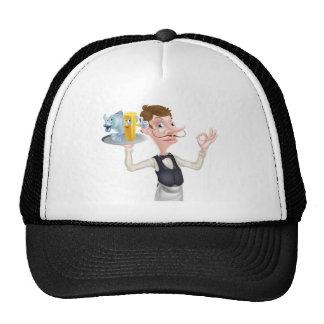 Cartoon Waiter Fish and Chip Mascots Cap