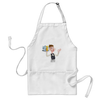 Cartoon Waiter Fish and Chip Mascots Standard Apron