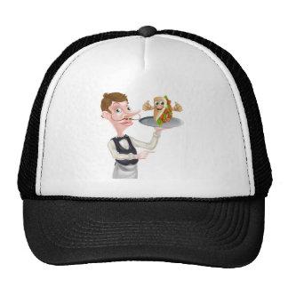 Cartoon Waiter Pointing and Kebab Cap