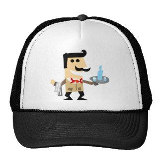 Cartoon Waiter with a Mustache Cap