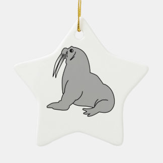 Cartoon Walrus Christmas Ornament