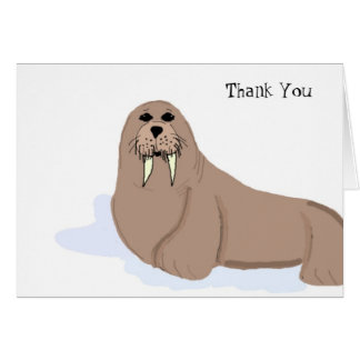 Cartoon Walrus Thank You Card
