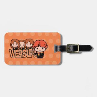 Cartoon Weasley Siblilings Graphic Luggage Tag