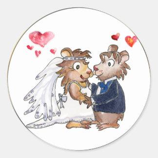 Cartoon Wedding Couple Round Sticker