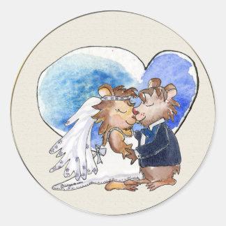 Cartoon Wedding Dance Couple Round Stickers