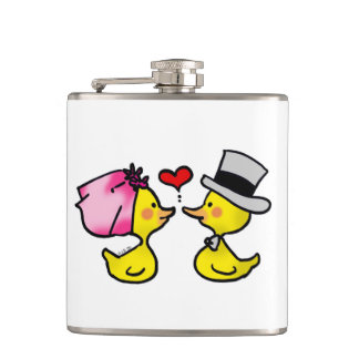 cartoon wedding ducks couple flasks