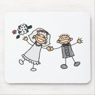 Cartoon Wedding Happy Couple Bride Groom Mouse Mat