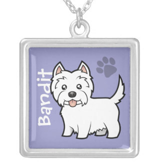Cartoon West Highland White Terrier (add name) Silver Plated Necklace