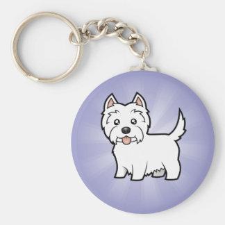Cartoon West Highland White Terrier Basic Round Button Key Ring