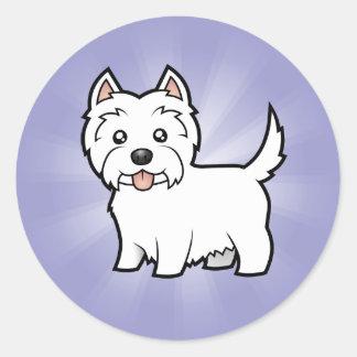 Cartoon West Highland White Terrier Classic Round Sticker