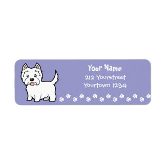 Cartoon West Highland White Terrier Return Address Label