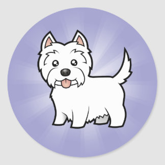 Cartoon West Highland White Terrier Round Sticker