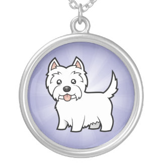 Cartoon West Highland White Terrier Silver Plated Necklace