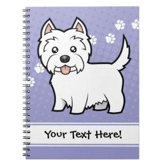 Cartoon West Highland White Terrier Spiral Note Book