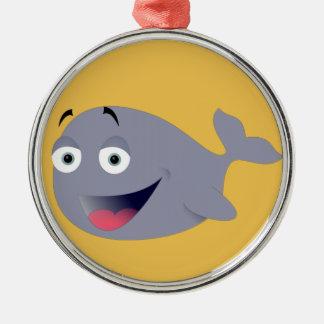 Cartoon Whale, Sea Mammal Round Metal Christmas Ornament