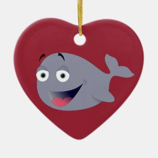 Cartoon Whale, Sea Mammal Double-Sided Heart Ceramic Christmas Ornament