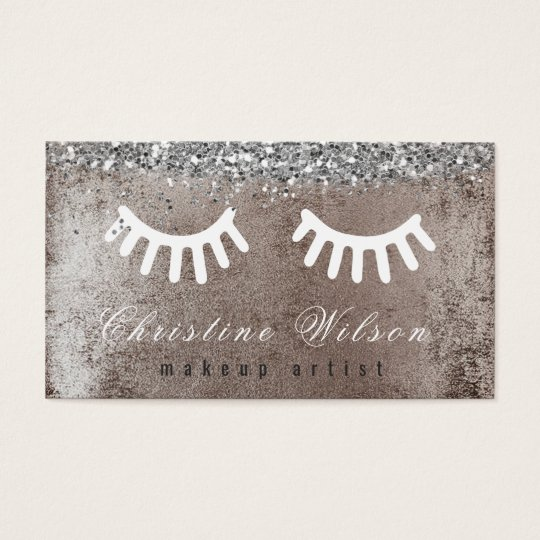 cartoon white lashes makeup artist business card