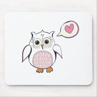 Cartoon White Love Owl Mouse Pad