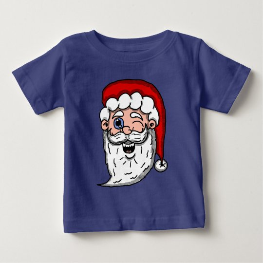 Cartoon Winking Santa Head Baby T-Shirt