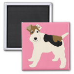 Cartoon Wire Fox Terrier Magnets