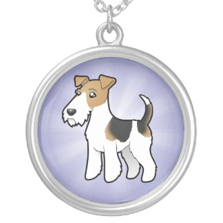 Cartoon Wire Fox Terrier Silver Plated Necklace