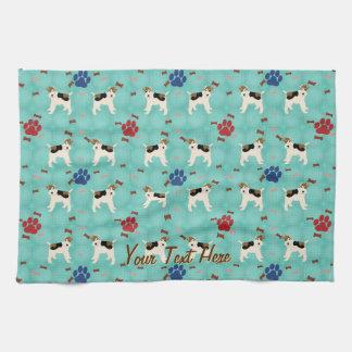 Cartoon Wire Fox Terrier Tea Towel
