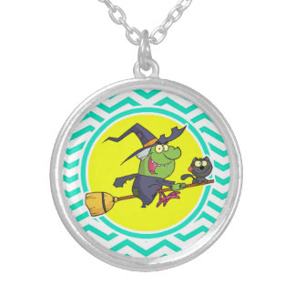 Cartoon Witch; Aqua Green Chevron Necklaces