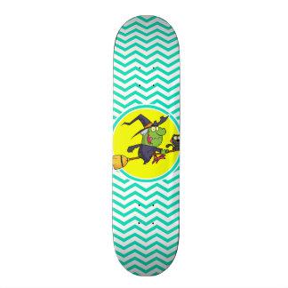 Cartoon Witch Aqua Green Chevron Skate Decks