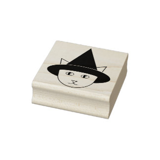 Cartoon Witch-Cat Face Rubber Stamp