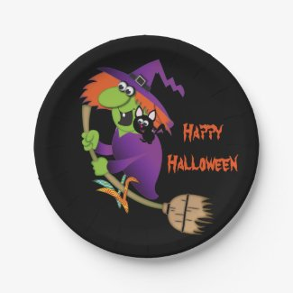 Cartoon Witch Halloween Paper Plates
