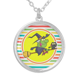 Cartoon Witch on Bright Rainbow Stripes Personalized Necklace
