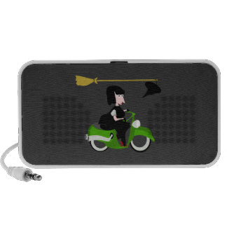 Cartoon Witch Riding A Green Moped PC Speakers