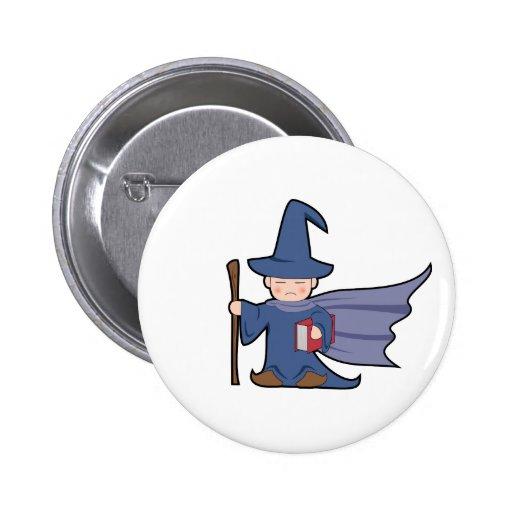 Cartoon Wizard Kid - Button