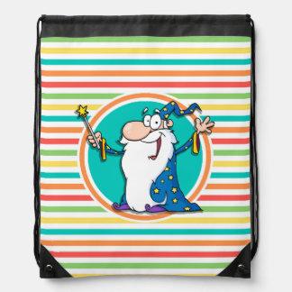 Cartoon Wizard on Bright Rainbow Stripes Drawstring Backpack