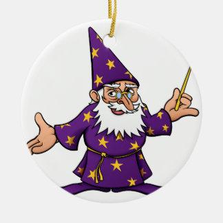 Cartoon Wizard Round Ceramic Decoration