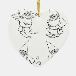 Cartoon Wizard Set Ceramic Heart Decoration